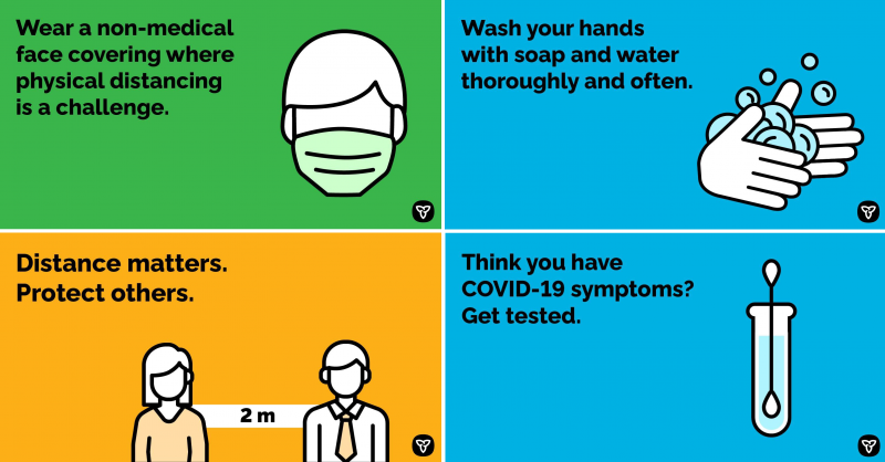Wear a non-medical face covering where physical distancing is a challenge; wash your hands with soap and water; Distance matters. Protect others.; Think you have COVID-19 symptoms? Get tested.